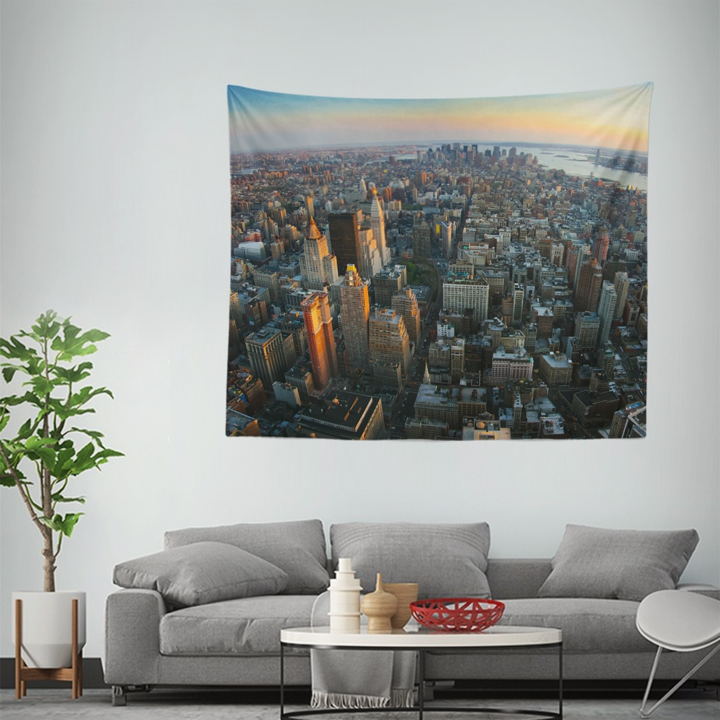 Tapiz de arquitectura aérea panorámica tapiz de pared colgante de pared de tapiz alfombra para sala de estar dormitorio Hogar, dormitorio Decoración
