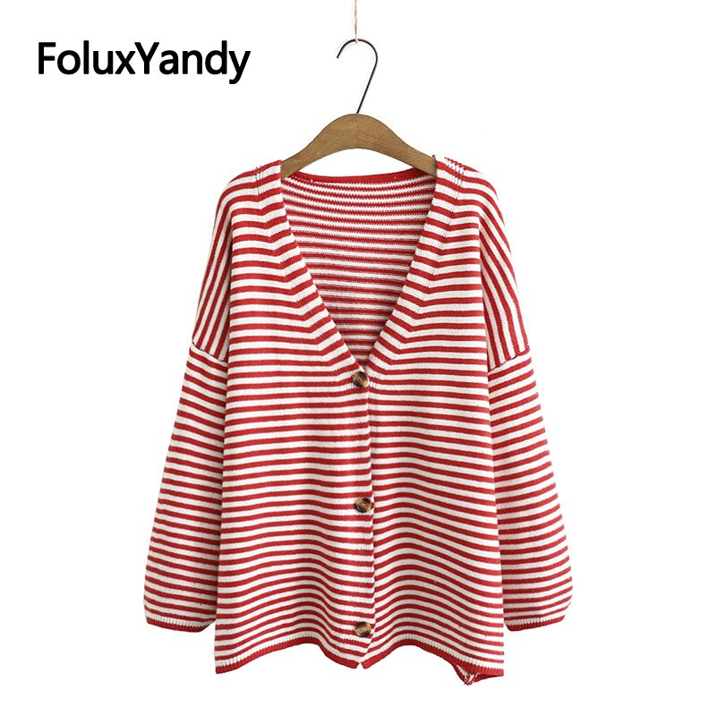 plus size drop shoulder striped tunic t shirt Striped Women's Cardigans Plus Size V-neck Sweater Drop-shoulder Casual Sweater Autumn Spring KKFY4866