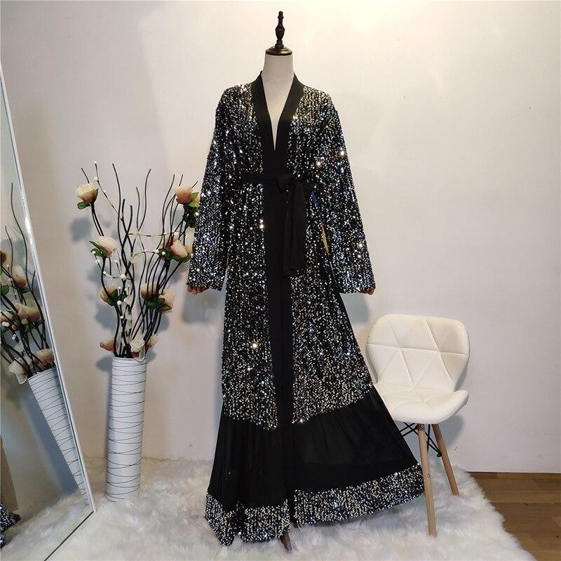 Negro Eid kaftan abaya de Dubai Kimono Cardigan musulmán vestido hijab mujeres Dubai ropa islámica turca Vetement mujer musulmana