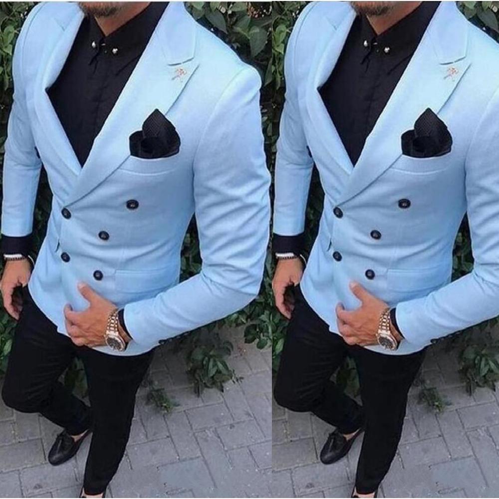Formal esmoquin de novio doble botonadura azul pico solapa padrino mejor hombre traje de hombre trajes de boda (chaqueta + Pantalones)