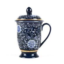 Jingdezhen Ceramic Mug Enamel Silver Cup 999 Sterling Silver Office Cup With Lid Meeting Mug Tea Milk Coffee Cup Drinkware