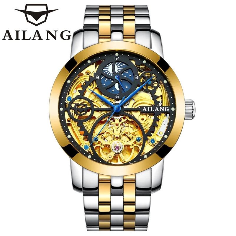 Esqueleto de Ouro Ailang Clássico Série Mecânica Inoxidável Relógio Masculino Marca Superior Luxo Moda Automático Aço
