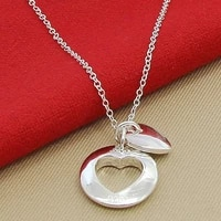 high quality romantic jewelry 925 silver necklace love to heart pendant necklaces for women girl birthday gift