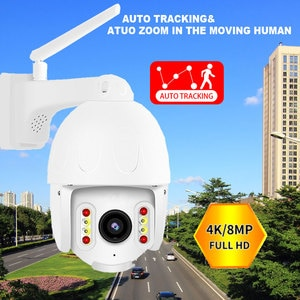 8MP 4K HD IP Camera Outdoor Waterproof Wath Color night vision PTZ Security WIFI Smart Auto Motion Tracking Two Way Audio Onvif