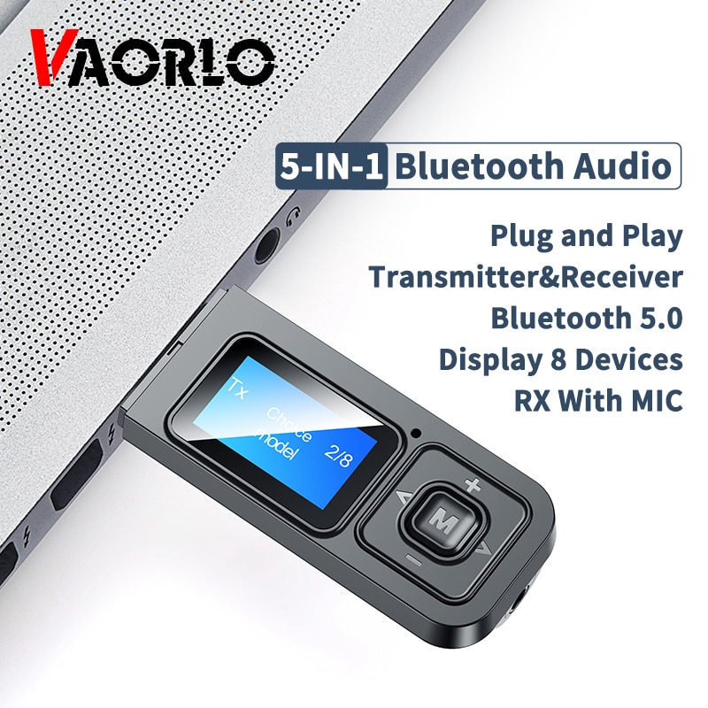 5-IN-1 USB Dongle Bluetooth 5.0 Audio Receiver Transmitter With LCD Display Mini 3.5mm AUX RCA Wirel