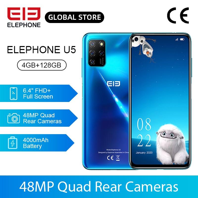 New ELEPHONE U5 4GB 128GB Smartphone 48MP Quad Rear Cameras 6.4'' FHD+ Screen Helio P60 Octa Core 4000mAh Android 10.0 NFC
