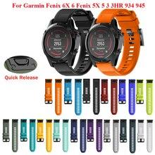 JKER 22 26mm attache rapide EasyFit pour Garmin Fenix 6X 6 Pro 5 5X Plus 3 bracelet en Silicone pour Forerunner 945 935 bracelet de montre