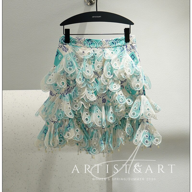 Svoryxiu Runway luxury Custom Summer Hollow Out Embroidery Mini Skirt Women's High-End Pearl Pendant Blue Print Skirt Female