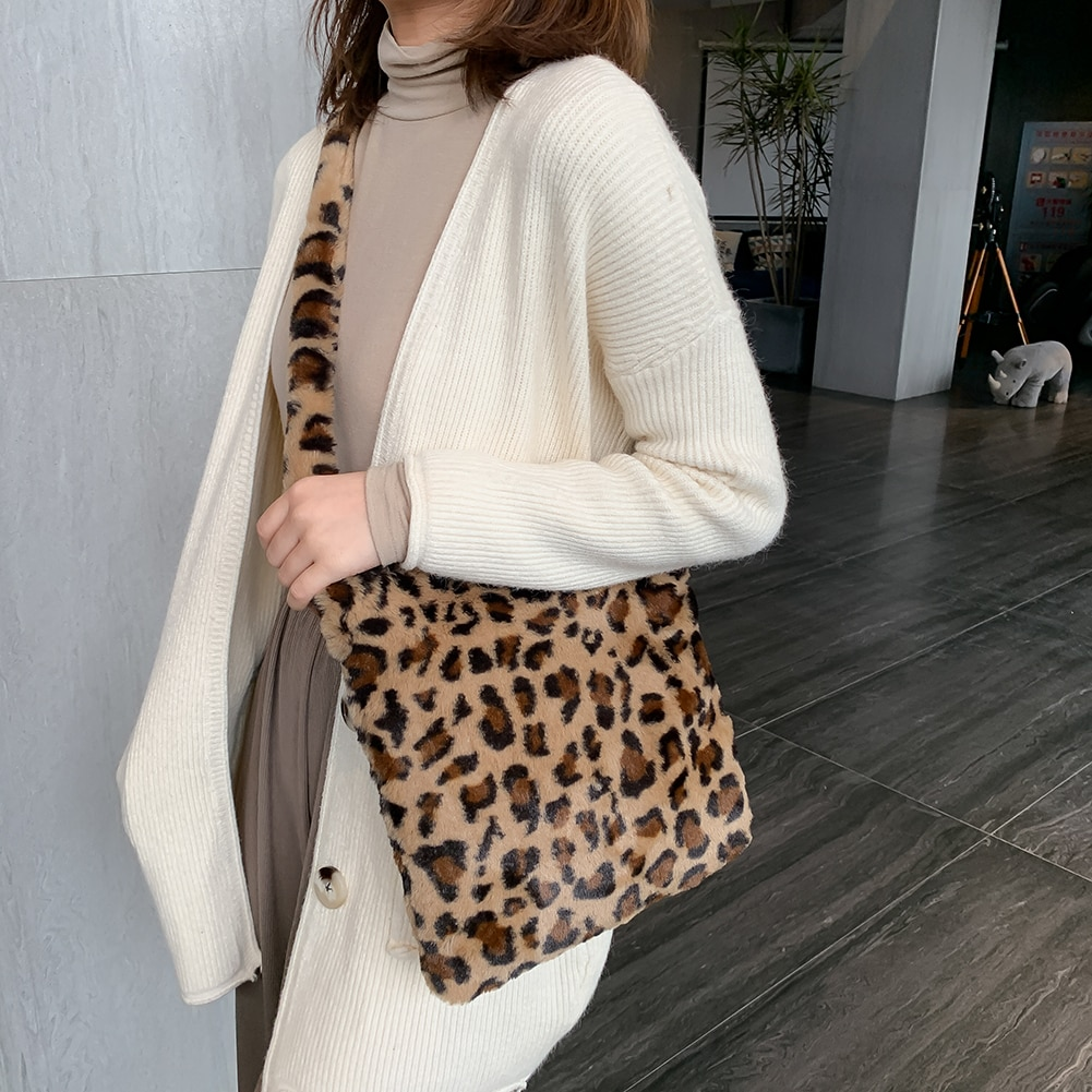 AliExpress - Fashion Leopard Print Crossbody Bags for Women Autumn Winter Plush Soft Shoulder Messenger Handbag Bag Fluffy сумка женская