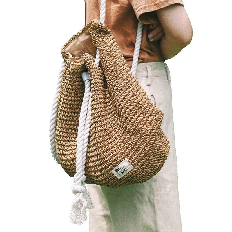 Женский соломенный рюкзак, модная соломенная сумка, рюкзак для девушек, рюкзак, дорожные пляжные сумки, женская сумка на плечо