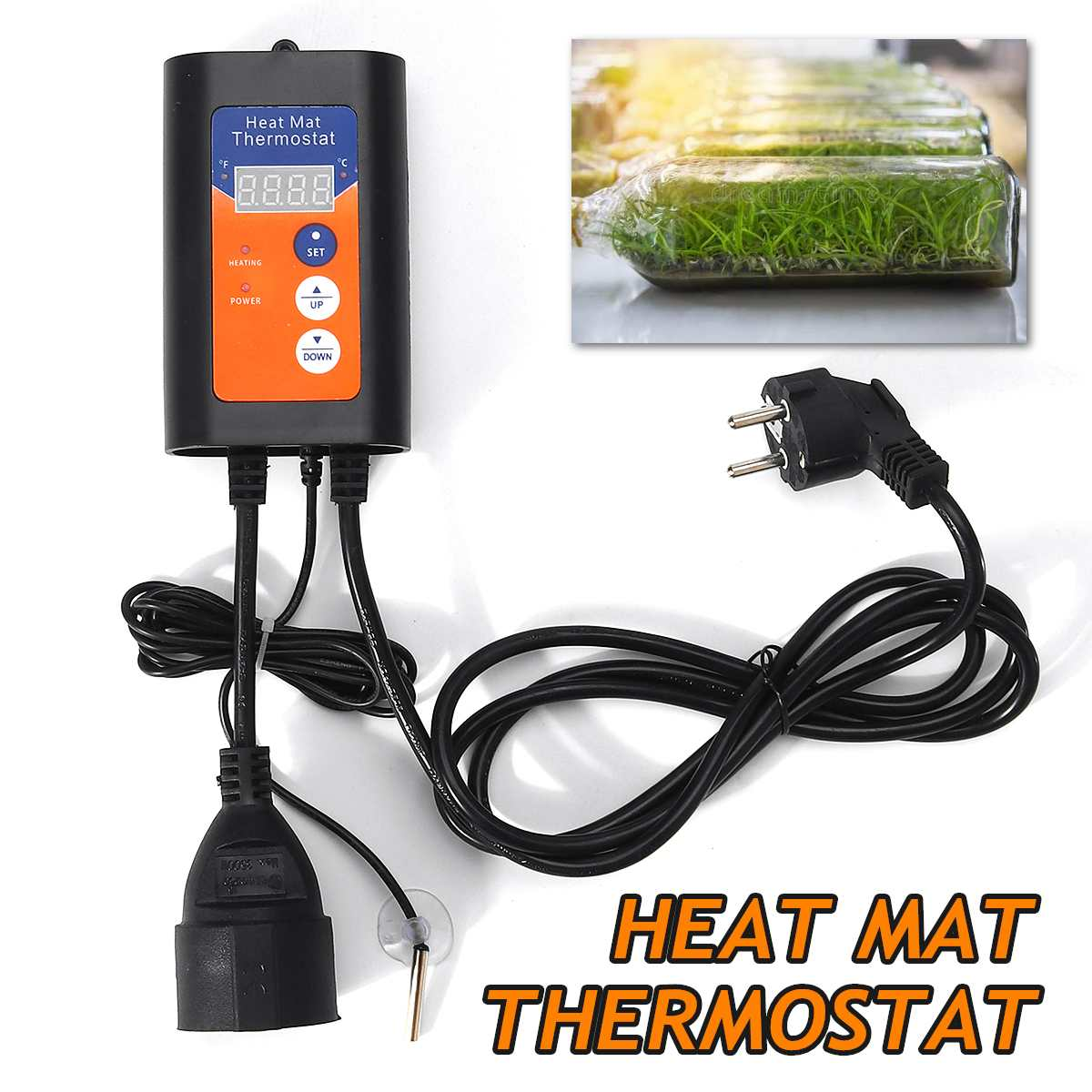 Digital Heat Mat Thermostat 1000W 230V Temperature Controller For Hydroponic Plants Seed Germination