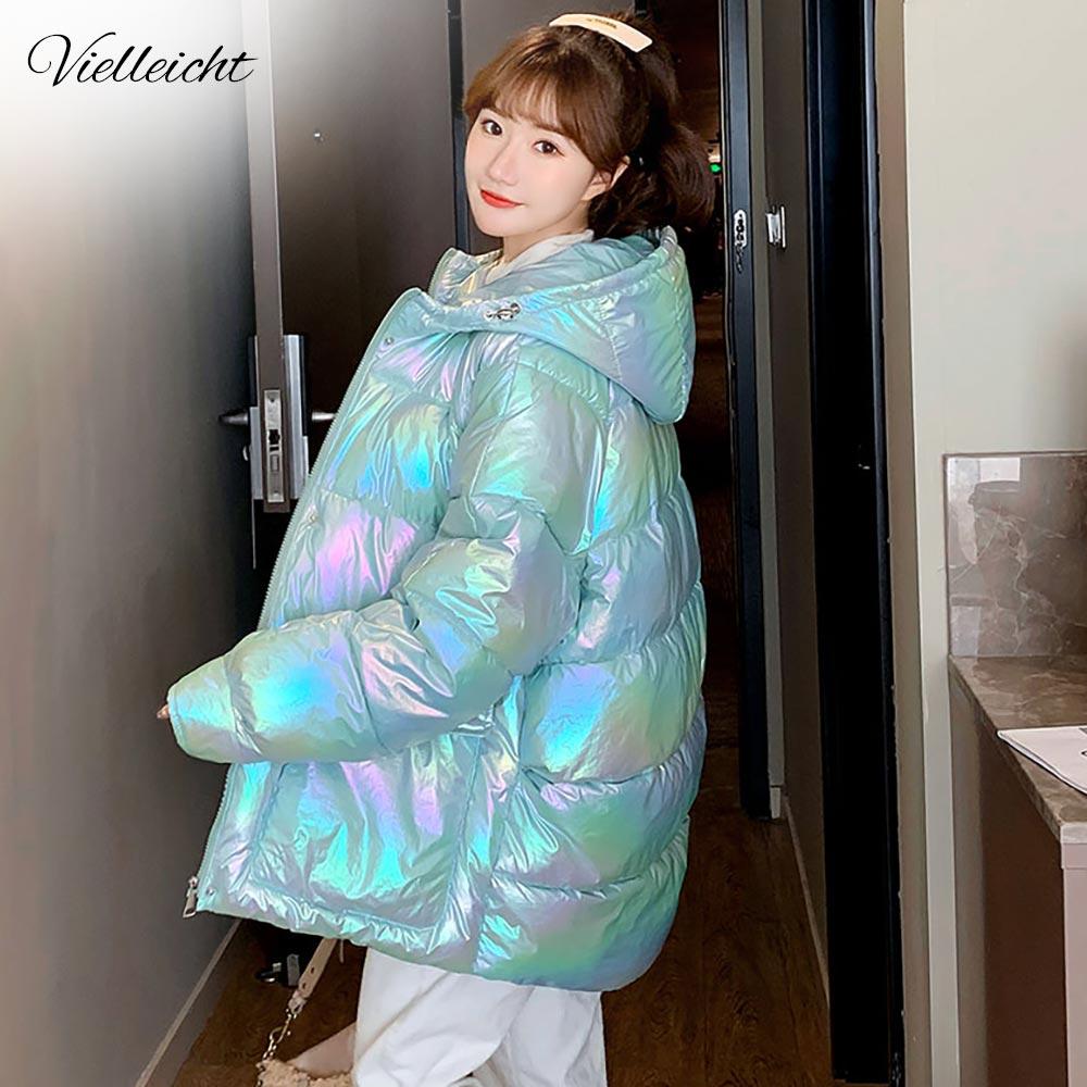Vielleicht зимние женские короткие парки, куртки, повседневные женские плотные теплые ветрозащитные блестящие яркие зимние куртки с капюшоном
