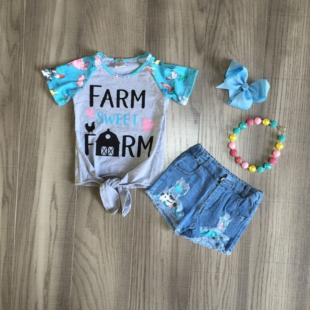 Baby Meisjes Zomer Jeans Outfits Meisje Farm Shirts Meisjes Boutique Denim Outfits Met Accessoires