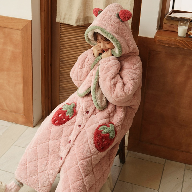 Coral Fleece Women's Pajamas Winter Extended Pink Strawberry Nightgown Three-layer Quilted Flannel Sweet Lovely Hooded Tracksuit