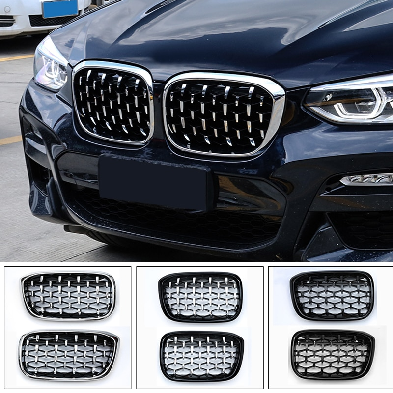 Bmw x3 g01 2018-2020 차량용 액세서리 전면 중간 그릴 그릴 교체 장식 커버 트림 2pcs