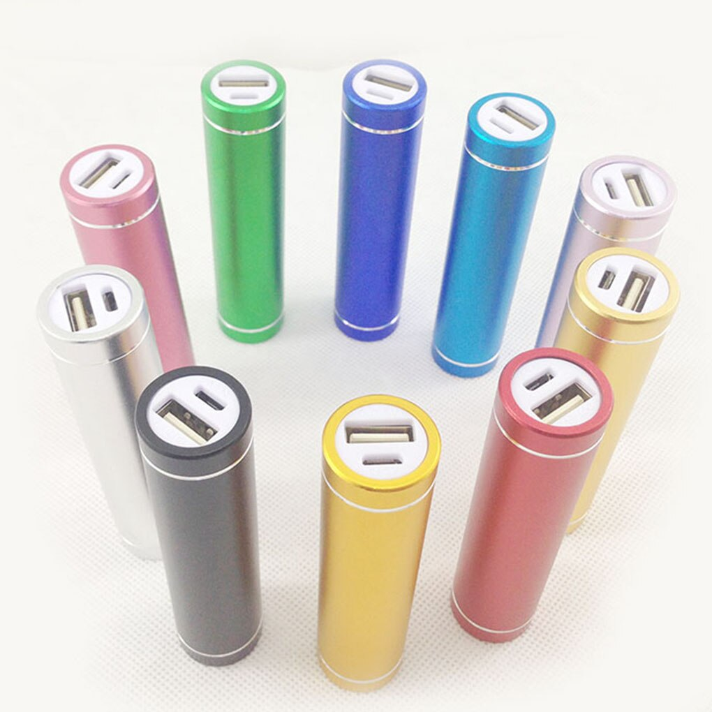 Mini batterie batterie alimentation coque arrière aluminium cylindrique téléphone portable 18650 batterie de secours chargeur USB bricolage boîte batterie mallette de rangement