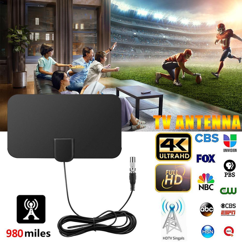 980 millas HD TV antenas interior Mini HD Digital TV Antena DVB-T2