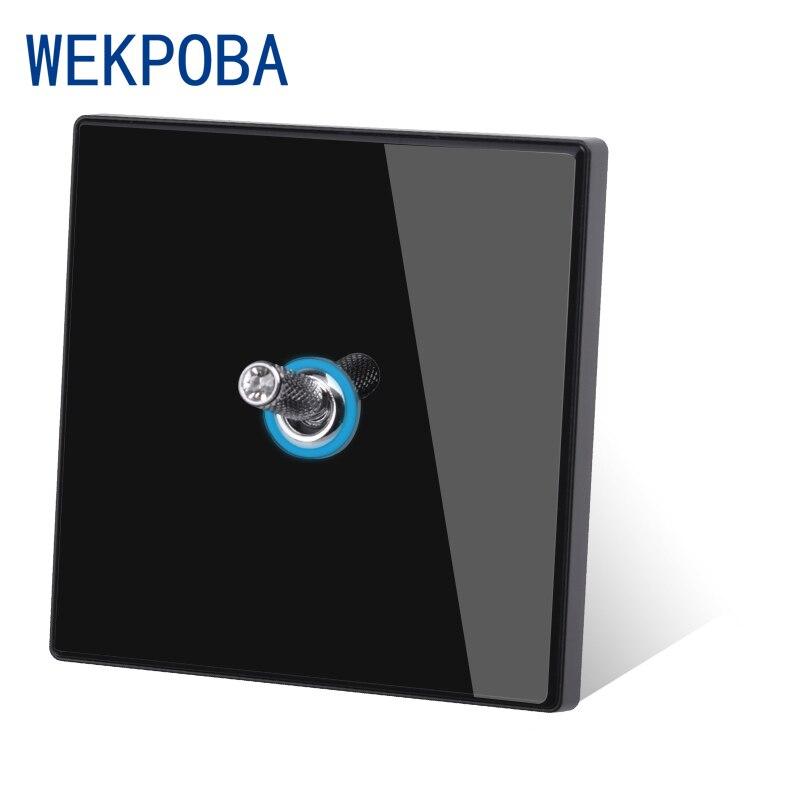WEKPOBA زجاج أسود 1 2 3 4 عصابة تبديل 1 2 طريقة الجدار مفتاح الإضاءة الضوء الأزرق فتحة LED HDMI USB شحن التلفزيون الأقمار الصناعية المقبس