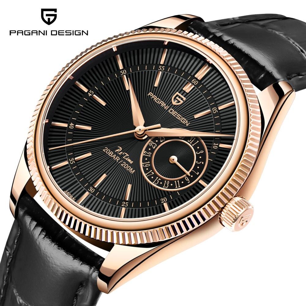 PAGANI تصميم 40 مللي متر ساعات آلية الكوارتز الأسود الهاتفي جلد طبيعي موضة الذهب حالة عادية الياقوت aterproof ساعة رجالي