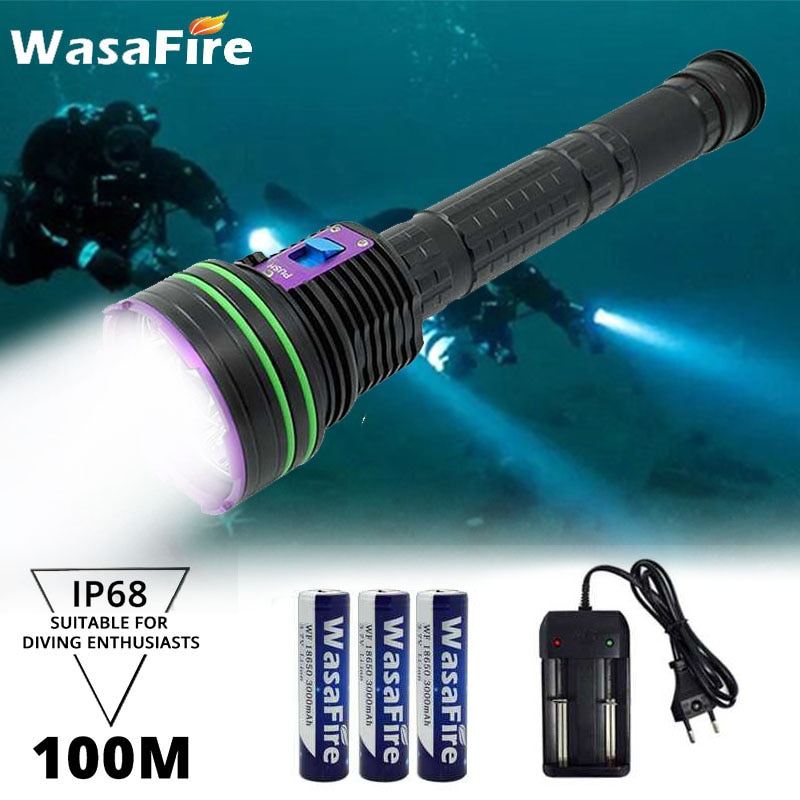 30000LM 12x XM-L2 Waterproof Dive Underwater 100 Meter Diving Flashlight Torches Light Camping Lanterna By 18650/26650 Battery