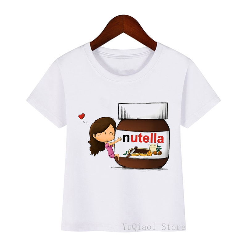 I Love Nutella Kids Funny Cartoon Print T-Shirt Boys Girls Cothes Summer White Tshirt Children Graphic T Shirts Teen Tops Tees