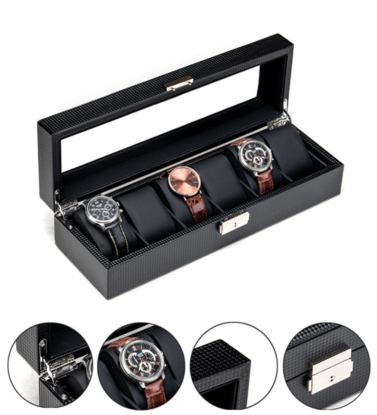 New Carbon Fibre Watch Storage Boxes Case Black 6 Slots Leather Watch Organizer With Lock Watch Storage Box Jewelry Gift Holder
