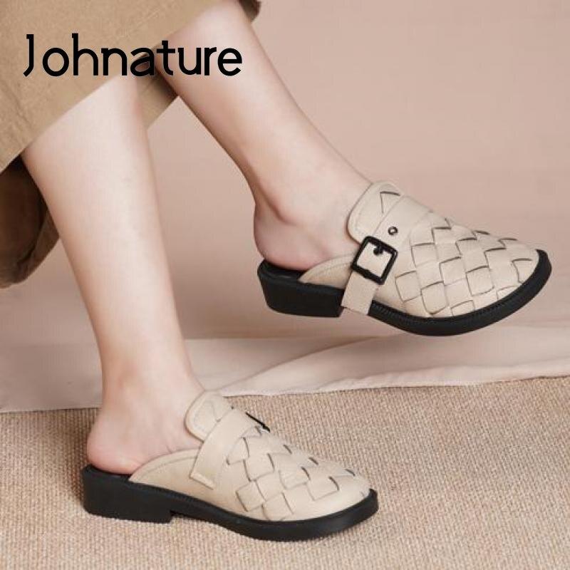 Johطبيعة-حذاء صيفي من الجلد الأصلي للنساء ، حذاء مسطح ريترو جديد مع خياطة ، صناعة يدوية ، 2021