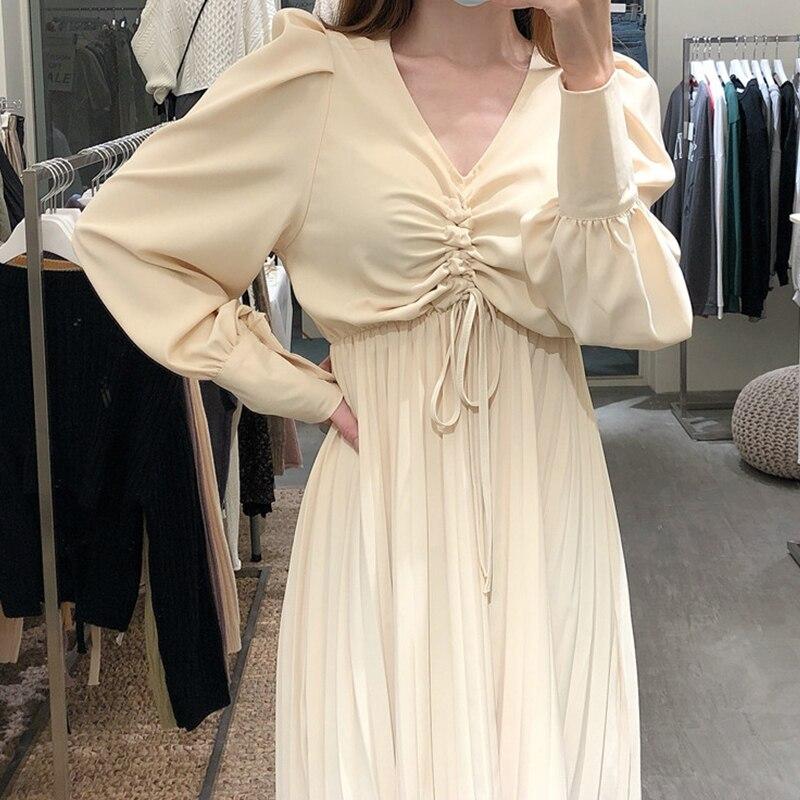 Sexy cordon robe plissée pour les femmes automne noir/Beige drapé taille haute à manches longues robes Vintage mode Vestidos 2020