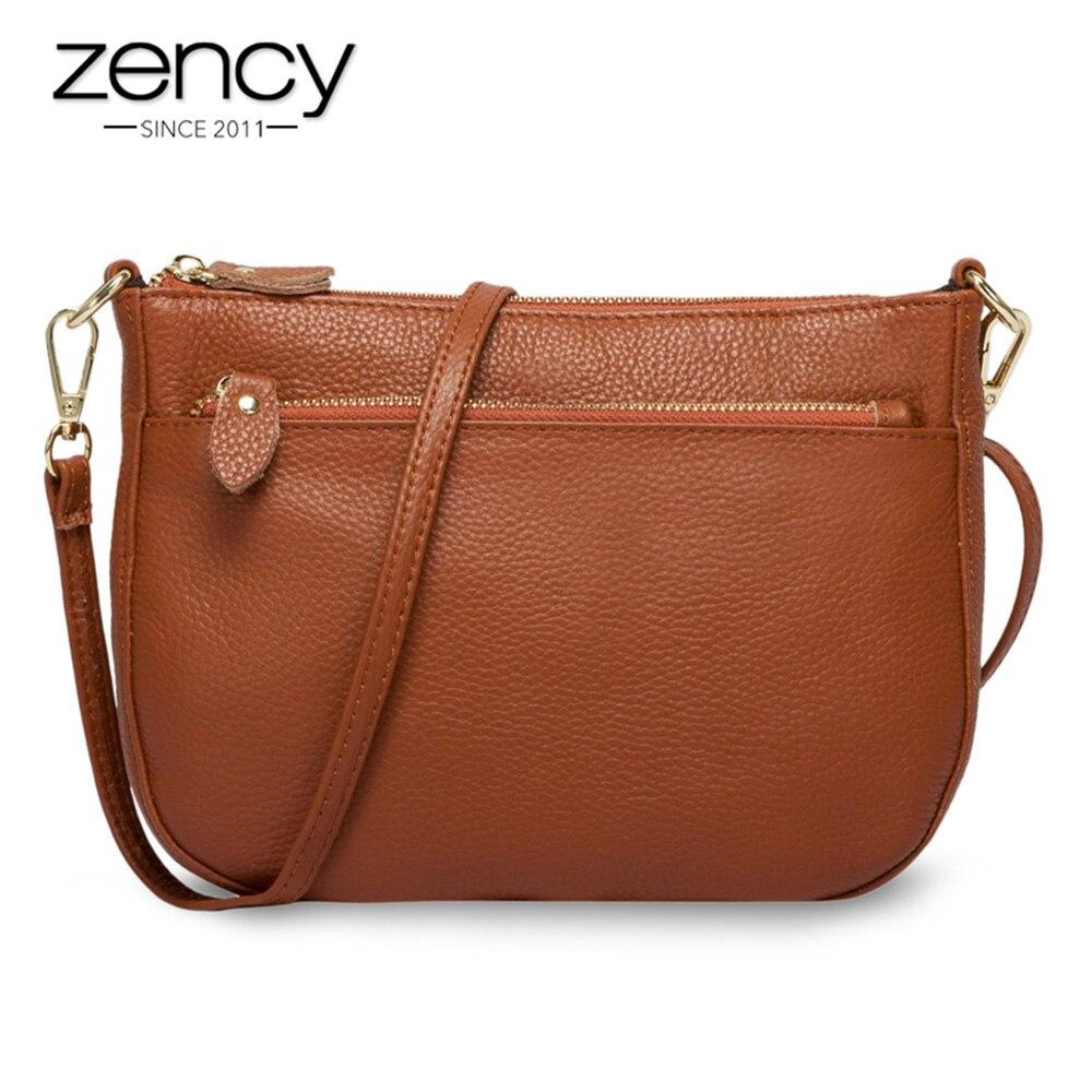 Zency moda feminina crossbody saco 100% couro genuíno marrom bolsa pequena aleta sacos simples senhora ombro bolsa do mensageiro