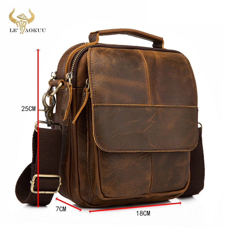 Original Leather Male Fashion Casual Tote Messenger Mochila bag Design Satchel Crossbody Shoulder ba