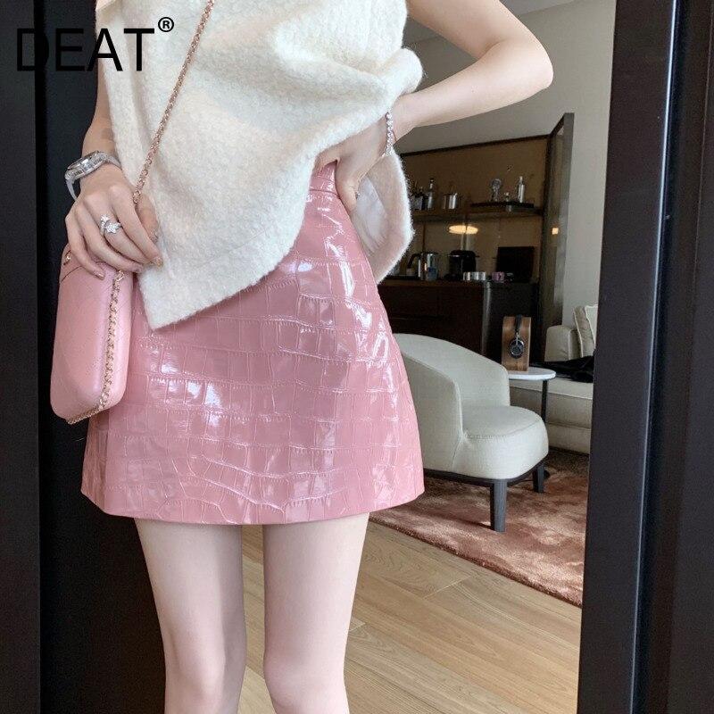 Deat 2020 nova moda verão preppy cintura alta magro estilo sexy rosa a-line mini saia curta feminina sb510