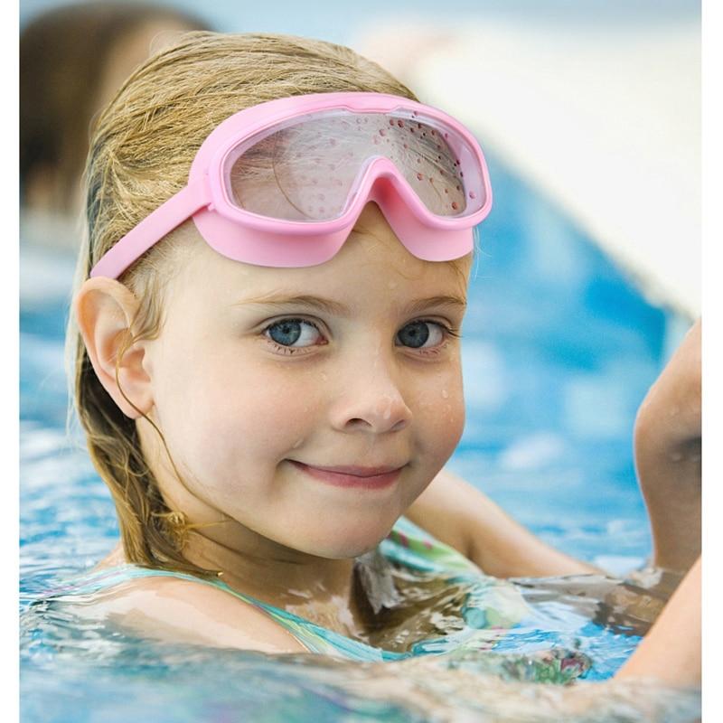 Детские плавательные очки с большой оправой, анти-туман, УФ регулируемые Детские мягкие силиконовые очки для плавания