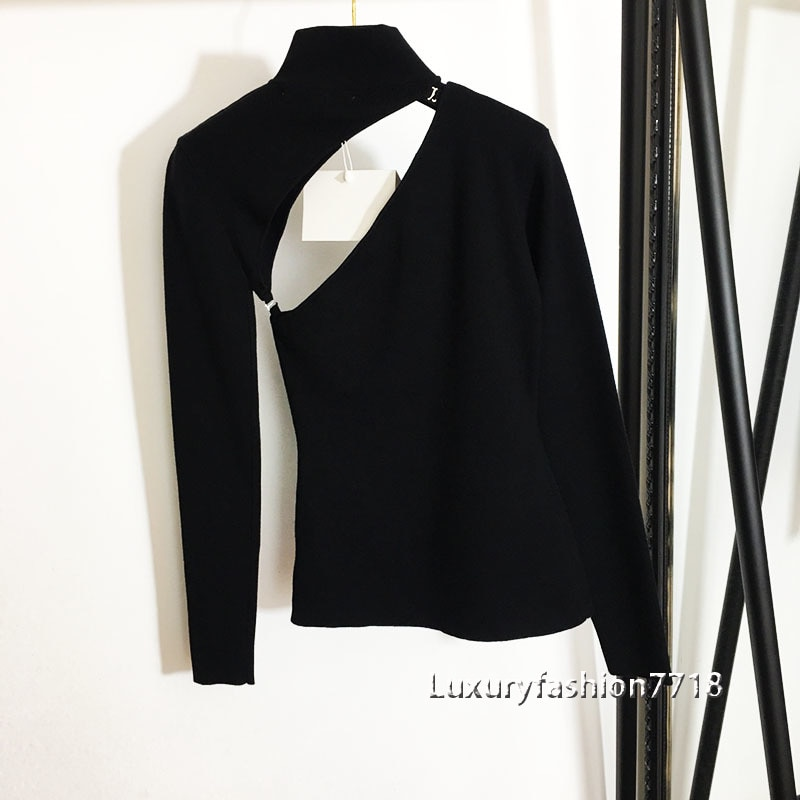 High quality 2021 women clothing fashion pullover sweaters sexy Hollowed out Split detachable High Neck Long Sleeve Sweater Top enlarge