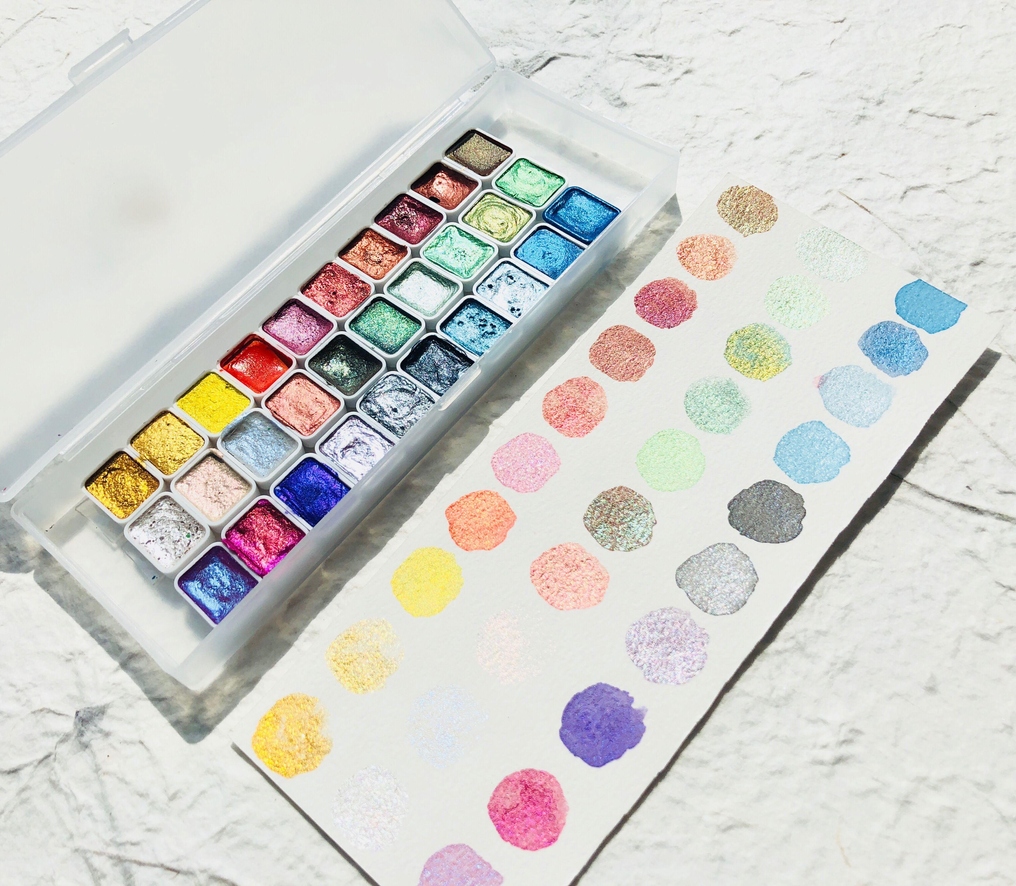 30 Colors Solid Quarter Pans Metallic Pearl Watercolor Paint Set Dropping Handmade Watercolors Nail Art Drawing Acuarelas