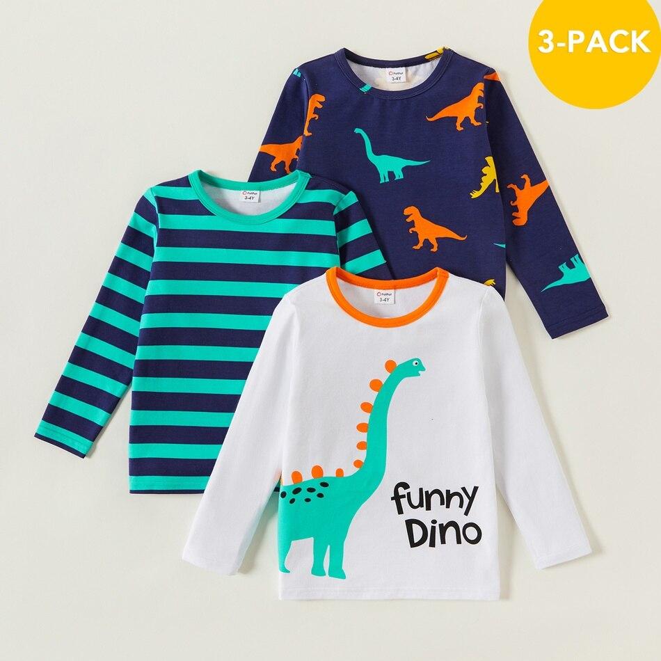 PatPat Новое поступление 2021 весна и осень из 3 предметов для малышей с динозавром в полоску; Футболка с длинным рукавом, детская одежда|Футболки для мальчиков| | АлиЭкспресс