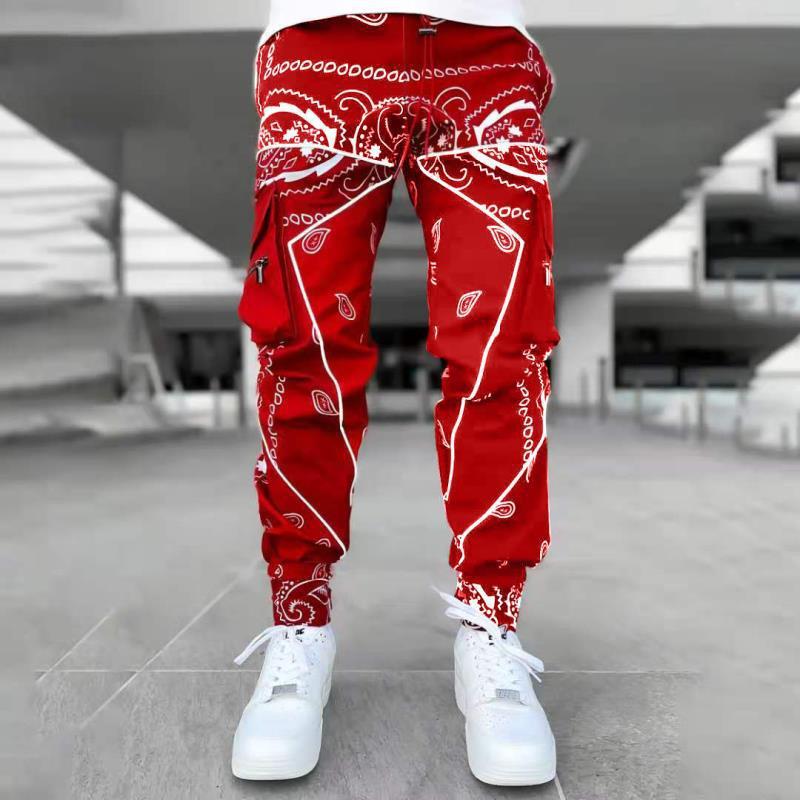 Hip Hop Printing Men Long Trousers Cotton Streetwear Fashion Sweatpants Pockets Design High Street Jogger Loose Cargo Pants Men