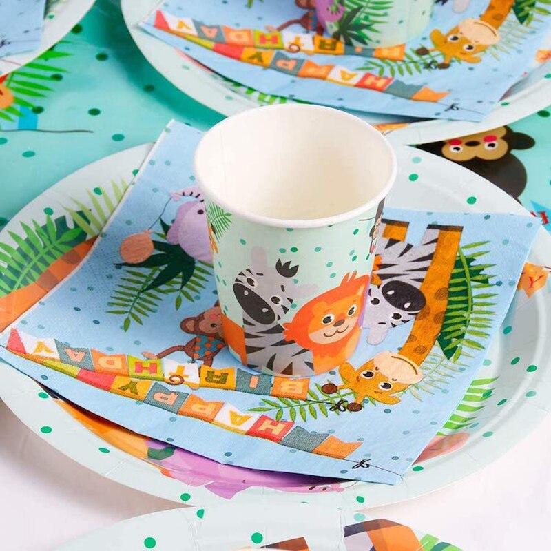 Украшение в джунглях, товары для дня рождения, одноразовая посуда