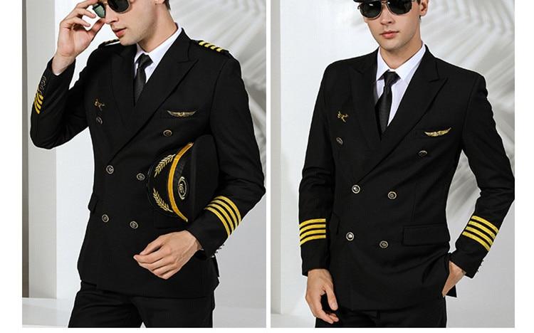 زي طيار جوي للرجال ، مصفف شعر ، بدلة ، معطف ، ملابس عمل ، مقاس كبير ، لون سادة
