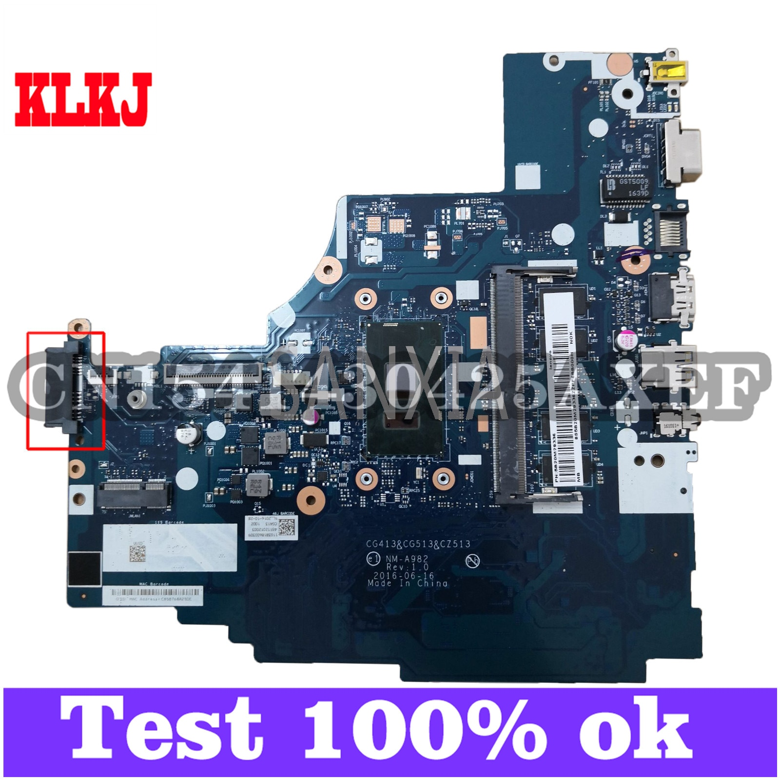 KLKJ NM-A982 اللوحة الأم لأجهزة الكمبيوتر المحمول لينوفو 310-14IKB اللوحة الرئيسية الأصلية 4G-RAM I3-7100U