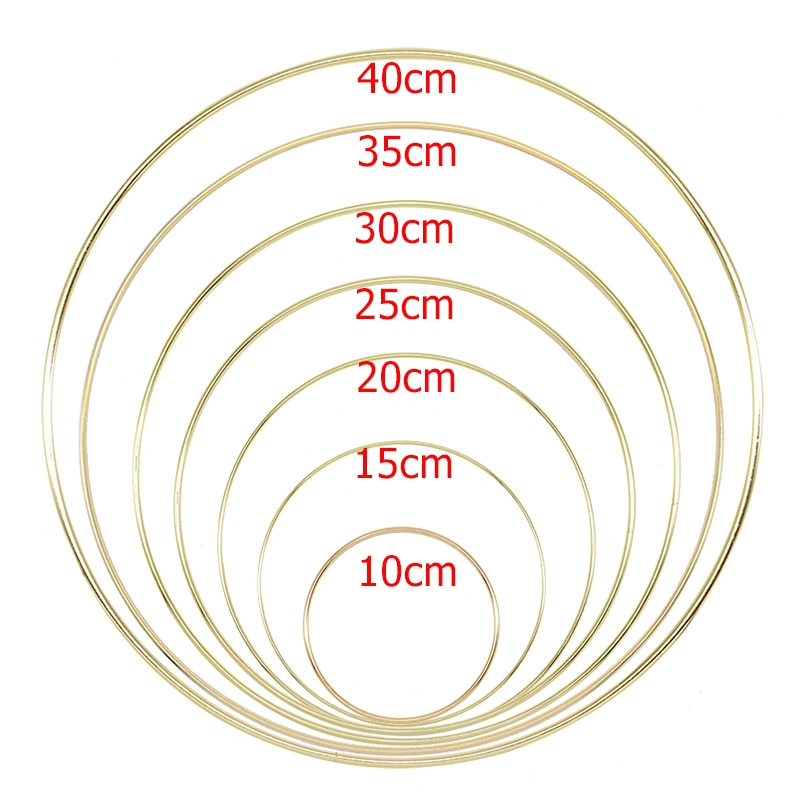 10-40cm Gold Metal Ring Hoops DIY Craft Wind Chimes Accessories Hanging Decorations for Wedding Deco