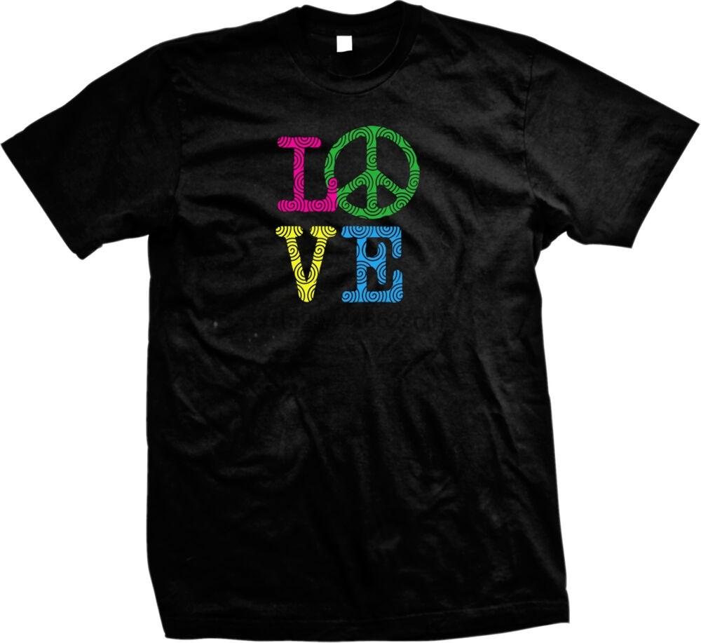 Love Peace Sign Psychadellic Hippie Flowerchild Mens T-shirt