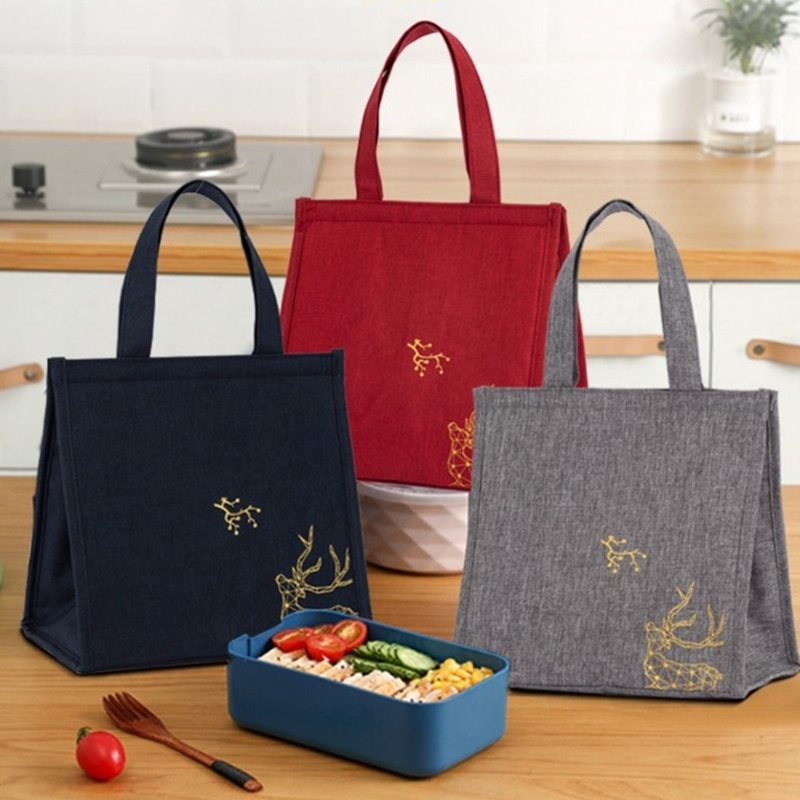 Portable Bento Box Lunch Bags Picnic School Cooler Dinner Container Fashion Canvas Thick Aluminium Food Storage Handbags