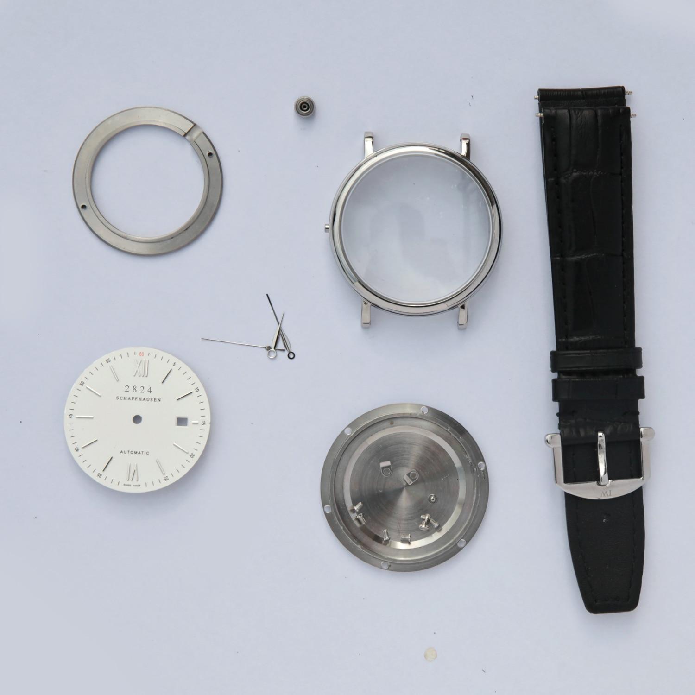FIT 2824 MOVEMENT 316L steel DIY watch case kit  portofino style for repair parts sapphire