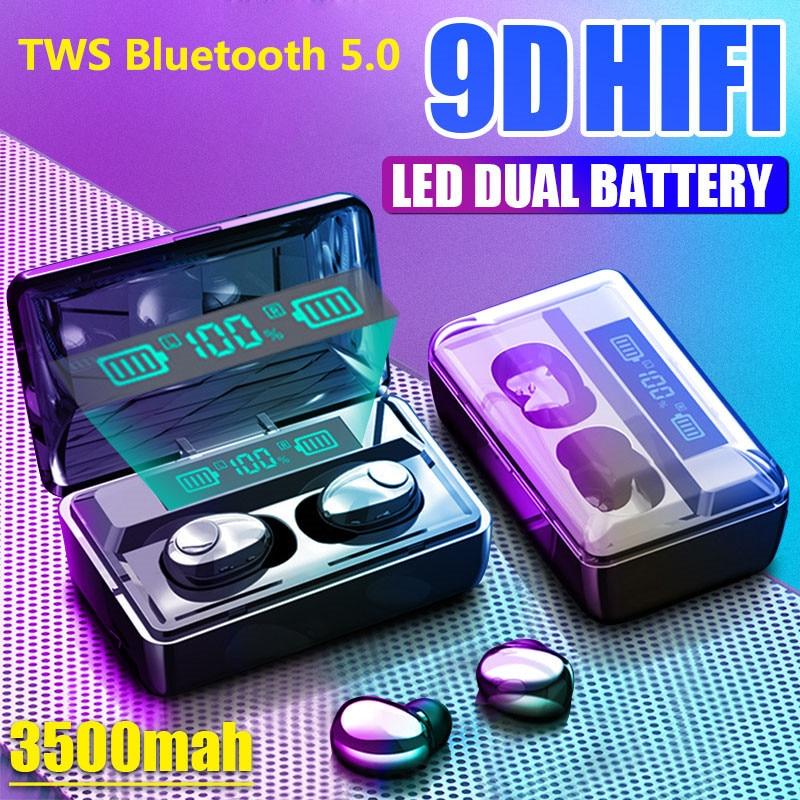 TWS Bluetooth Earphone V5.0 Stereo Wireless Headphones Sport Waterproof Earphones Mini Ear-hook Head