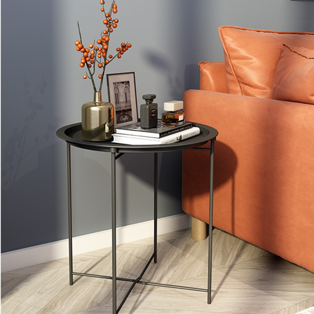 Metal Side Table Folding Tray  Sofa Table Small Round End Tables Anti-Rust  Waterproof Indoor Snack Table