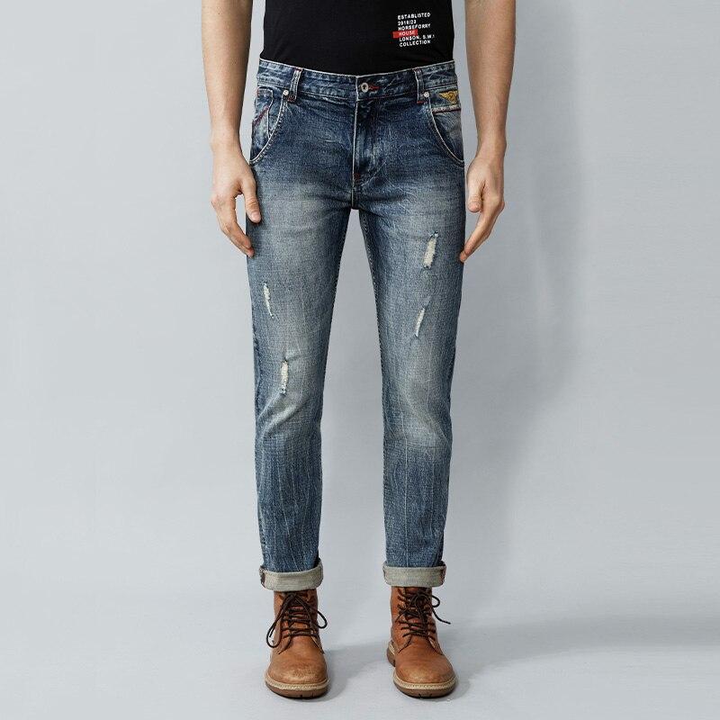 Italian Vintage Fashion Men Jeans High Quality Slim Fit Retro Blue Ripped Jeans Men Selvedge Designer Redline Casual Denim Pants