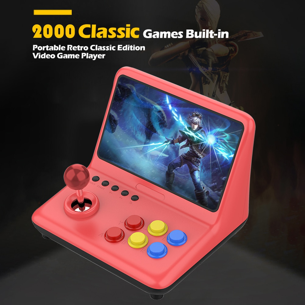 POWKIDDY A12 9 inch Gaming Console 2000 Games Arcade Joystick Video Gamepad Support CPS//SFC/GBA/GBC/GB/FC/GG/MD/PS/NEOGE Gam