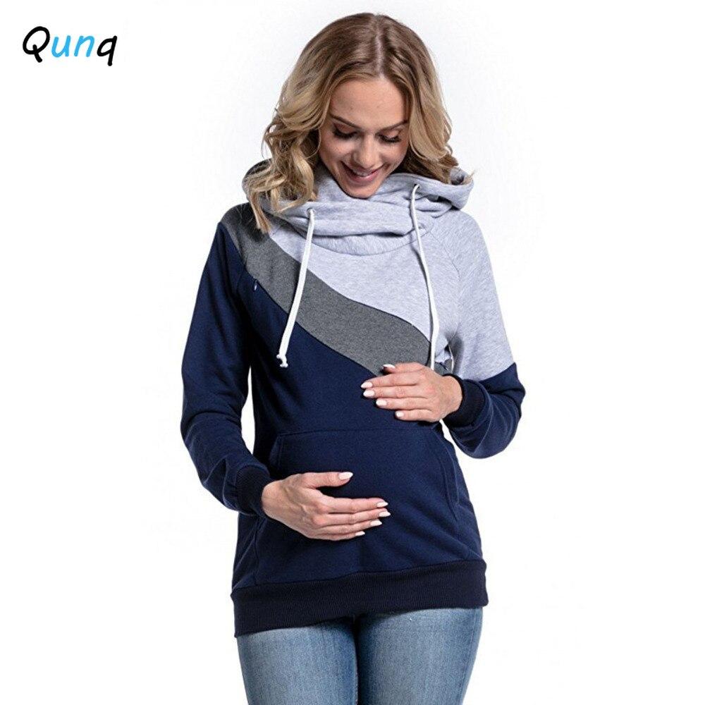 Qunq Pregnancy Hooded Sweatshirt Breastfeeding Maternity Clothing 2021 New Spring Pregnant Woman Outfits Batasde Maternidad enlarge