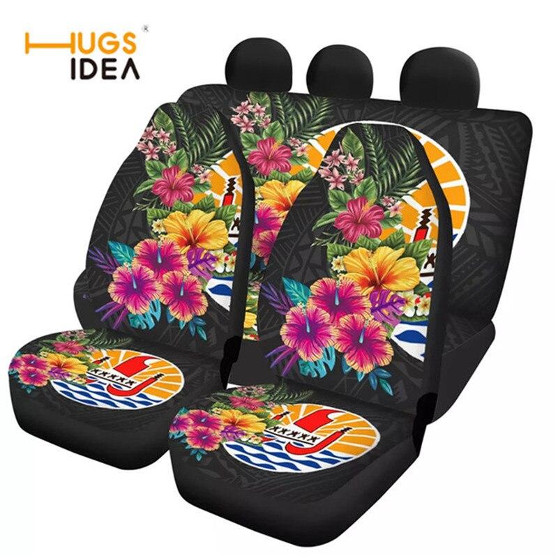 Hatihi-غطاء مقعد السيارة الأمامي والخلفي ، غطاء مقعد سيارة عالمي بتصميم زهرة بولينيزية ، مقاوم للخدش