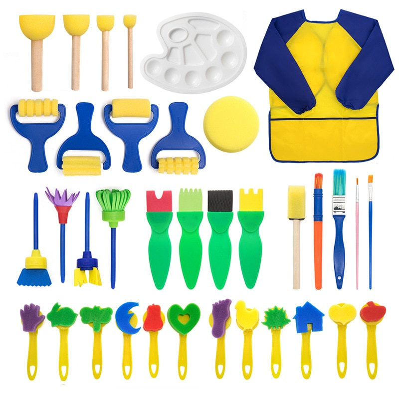 Paint Sponges 36pc Kids Toddler Sponge Stamp Brush Kits Flower Drawing Toys for Children Paint Educational Art  Craft Creativity